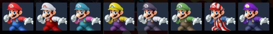Paleta de colores de Mario SSB4 (3DS).png