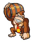 Pegatina de Donkey Kong con el barril SSBB.png