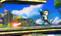 Tirador Mii usando Llamarada en Super Smash Bros. for Nintendo 3DS.