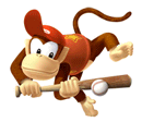 Pegatina de Diddy Kong en Mario Superstar Baseball SSBB.png