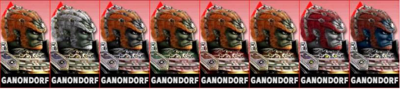 Paleta de colores de Ganondorf SSB4 (3DS).png