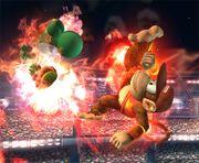 Diddy Kong quemando a Yoshi con el Curry superpicante SSBB.jpg