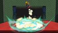 Wario usando el Tufo Wario con su máxima carga en Super Smash Bros. para Wii U