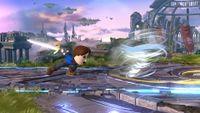 Espadachín Mii lanzando el Torbellino en Super Smash Bros. para Wii U