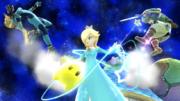 Estela realizando antigravedad contra Link y Samus Zero en Galaxia Mario SSBWiiU.png