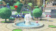 Samus Zero, Aldeano, Kirby y Olimar en las Islas Wuhu SSB4 (Wii U).jpg