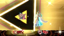 Zelda usando su Smash Final, Trifuerza de la Sabiduría en Super Smash Bros. Ultimate.