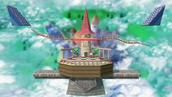 Vista del Castillo de Peach en Super Smash Bros. Ultimate