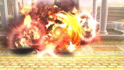 Pit habiendo atacado una Caja explosiva sin recibir la explosión de la misma.