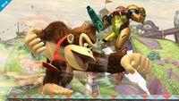 Donkey Kong usando el Puñetazo gigantesco en Super Smash Bros. para Wii U