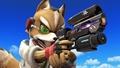 Fox y el nuevo modelo de su Blaster SSB4 (Wii U).jpg