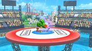 Aldeano, Samus Zero, Kirby y Olimar en las Islas Wuhu SSB4 (Wii U).jpg