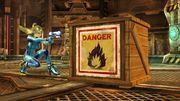 Samus zero junto a una caja explosiva en pirosfera SSB4 (Wii U).jpg