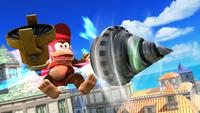 Diddy Kong usando el Taladro en Super Smash Bros. para Wii U