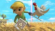 Toon Link siendo perseguido por un Cuco SSBU.png