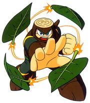 Artwork de Wood Man usando el Leaf Shield en Mega Man 2.jpg