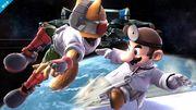 Dr. Mario y Fox en la Estación espacial SSB4 (Wii U).jpg
