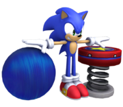 Pose T y de ataque de Sonic junto con el modelo del Muelle SSB4 (Wii U).png