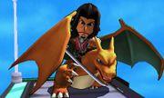 Charizard y Espadachín Mii con el atuendo de Dunban en la Torre Prisma SSB4 (3DS).jpg