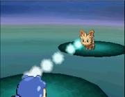 Spheal usando pistola de agua Pokémon Blanco.png