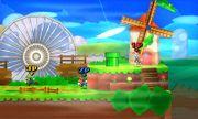 Mario, Luigi y La Entrenadora de Wii Fit en el escenario de Paper Mario SSB4 (3DS).jpg
