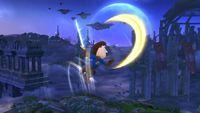 Espadachín Mii ejecutando Furia implacable en diagonal hacia arriba en Super Smash Bros. for Wii U