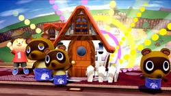 Aldeano usando su Smash Final, La casa de mis sueños en Super Smash Bros. para Wii U