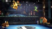 Donkey Kong, Charizard, Yoshi y Bowser en el Ring de boxeo SSBWiiU.png