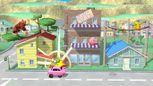 Donkey Kong, Kirby, Pikachu y Yoshi en Onett SSB4 (Wii U).jpg