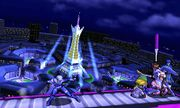 Sheik, Toon Link, Pit y Marth en la Torre Prisma SSB4 (3DS).jpg