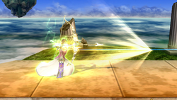 Zelda usando Flecha de luz en Super Smash Bros. for Wii U