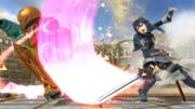 Lucina atacando a Samus en el Coliseo SSB4 (Wii U).png