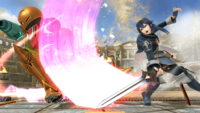 Lucina realizando el ultimo golpe de la danza del sable en Super Smash Bros. for Wii U