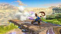 Espadachín Mii ejecutando el Tajo horizontal al principio del ataque en Super Smash Bros. for Wii U