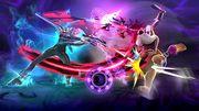 Bayonetta realizando su Smash Final al Dúo Duck Hunt SSB4 (Wii U).jpg