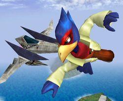 Un Arwing volando cerca de Falco.