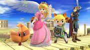 Peach, Toon Link y Marth bajo los efectos de la Superhoja SSB4 (Wii U).jpg