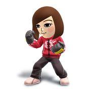 Artwork del Karateka Mii mujer con el Pantalón de chándal con sudadera roja.jpg