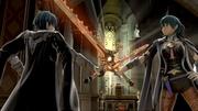 Byleth hombre y mujer en la Catedral del Monasterio de Garreg Mach SSBU.jpg