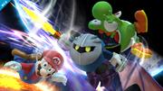 Meta Knight atacando a Mario y Yoshi SSB4 (Wii U).png