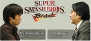 Masahiro Sakurai y Satoru Iwata en el Iwata Pregunta de Super Smash Bros. Brawl.jpg