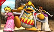 Rey Dedede, Peach y Zelda en el Valle Gerudo SSB4 (3DS).jpg