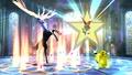Pikachu junto a Xerneas y Victini en la Liga Pokemon SSB4 (Wii U).jpg