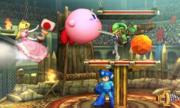 Peach, Kirby, Link y Mega Man en el Coliseo de Regna Ferox SSB4 (3DS).png