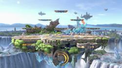 Vista general del Gran campo de batalla en Super Smash Bros. Ultimate