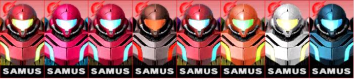 Paleta de colores de Samus SSB4 (3DS).png