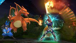 Roy iniciando el Golpe crítico en Super Smash Bros. para Wii U