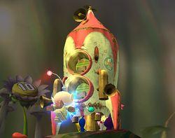 Olimar subiéndose a la nave en Super Smash Bros. Brawl