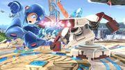 R.O.B. atacando a Mega Man en Campo de batalla SSBU.jpg