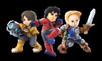 Art oficial de las tres formas del Luchador Mii en Super Smash Bros. Ultimate